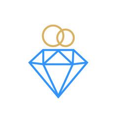 diamond ring logo design wedding ring vector image