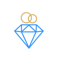 diamond ring logo design wedding ring with vector image
