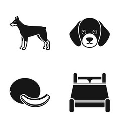 doberman puppy and other web icon in black style vector image