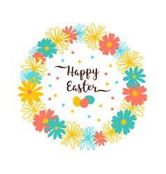 easter wreath flowers happy easter card vector image