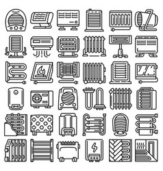 electric heater icon set outline style vector image