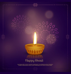 Elegant happy diwali festival greeting design vector