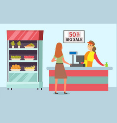 female character in grocery store supermarket vector image