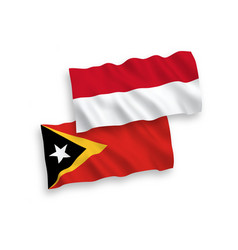 Flags indonesia and east timor on a white vector