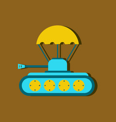 Flat icon design collection tank on parachute vector