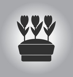 Flowers in pot icon house pot plants garden vector