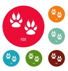 Fox step icons circle set vector