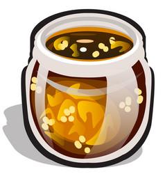 glass transparent jar with jam made of physalis vector image