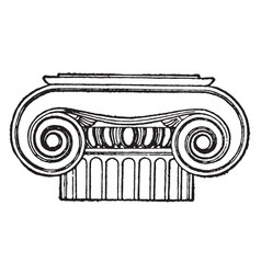 Greek capital ionic vintage engraving vector