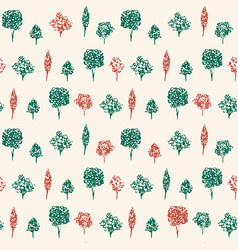 Green and red trees hand drawn background vector