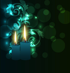 Greeting glowing card with candles for diwali vector