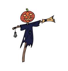 happy halloween color icon pumpkin head vector image