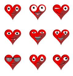 heart collection emoticons emoji love symbol vector image