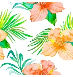 Hibiscus Tropical plants seamless pattern and vector image