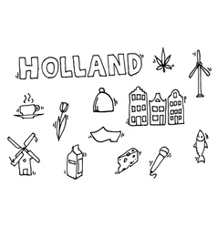 Holland icons set vector