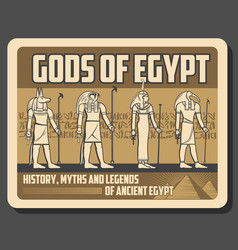 horus anubis ra and amun egyptian gods statues vector image
