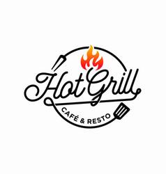 hot grill logo design template vector image