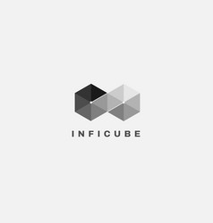 Infinity cube box shape logo design template vector