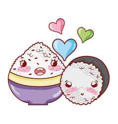 Kawaii bowl with rice and roll love food japanese vector