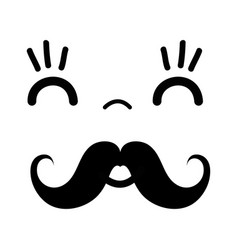 Kawaii cute happy face with mustache vector