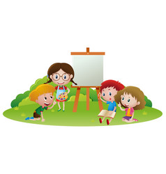 Kids painting and writing in garden vector