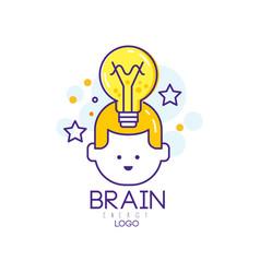 Linear logo design with child head light vector
