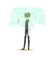 male scientist wearing vr headset working in vector image