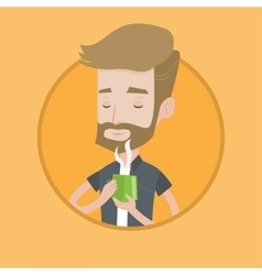 Man enjoying cup of hot coffee vector