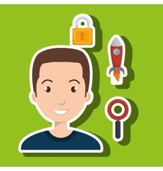 Man idea search security vector