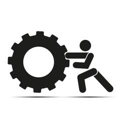 Man pushes a wheel vector image