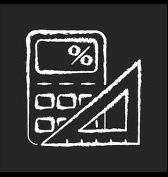 Mathematics chalk white icon on black background vector