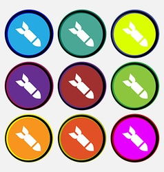 Missilerocket weapon icon sign nine multi-colored vector