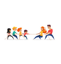 mom dad and children pulling opposite ends vector image