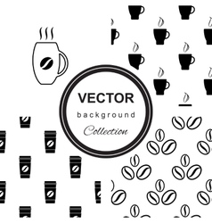 Monochrome pattern with cup of coffee vector image