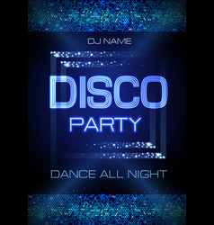 Neon sign disco party poster vector