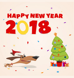 New year s card puppy runs to the christmas tree vector