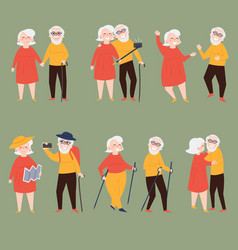 Old couple travel together and make photo selfies vector
