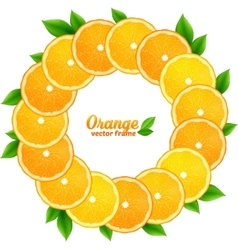 Orange slices with leaves round frame vector image