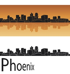 Phoenix skyline in orange background vector image