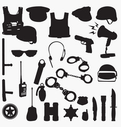 Police equipment silhouettes vector
