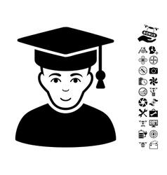 Professor icon with air drone tools bonus vector