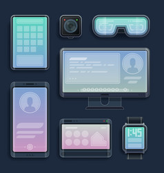 realistic smartphones tablets and digital devices vector image