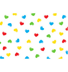 Red blue green yellow little hearts falling vector