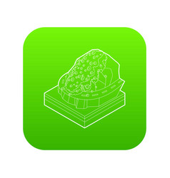 Rockfall icon green vector