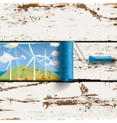 roller brush and wind turbines landscape vector image