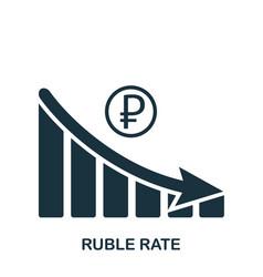 Ruble rate decrease graphic icon mobile app vector