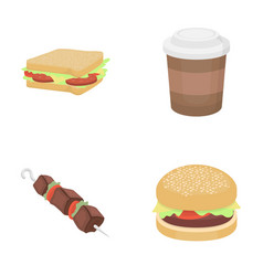 Sandwich coffee shish kebab burgerfast food vector