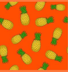 Seamless pattern pineapple on orange background vector