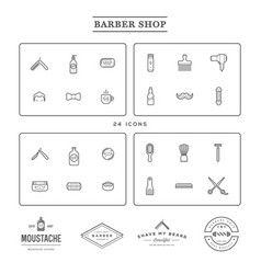 set barber shop elements and shave shop icons vector image