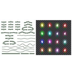 set of christmas lights isolated on transparent vector image